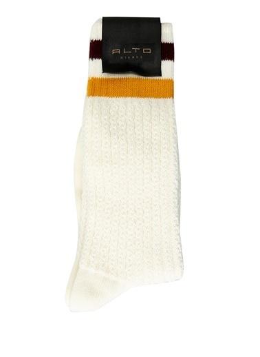Alto Socks Alto Socks  Şerit Detaylı Erkek Çorap 101560329 Beyaz